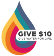 Give10 logo. Give water for life.